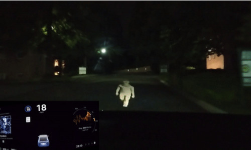 A phantom image detected by the Tesla Model X.
